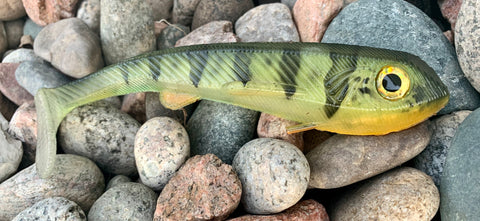 "Yellow Perch 7"" Soft Plastic Line Through Swimbait"