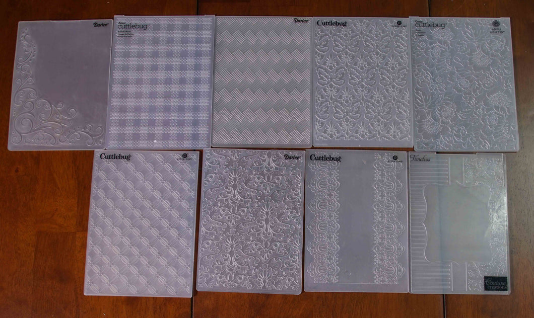 9 Assorted Embossing Folders