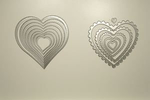 Sittched scalloped heart & Sitched hearts