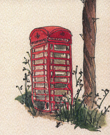 Red public phonebox watercolour and ink illustration
