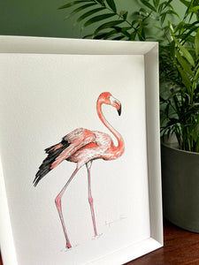 Flamingo giclée print with handpainted watercolour plumage, in a white frame, standing on a wooden surface. Green wall behind. Pot plant standing next to it.