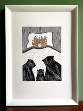 Load image into Gallery viewer, Goldilocks giclée print with handpainted gold gouache hair detail. Print is in a white frame, standing on a wooden surface with green wall behind.