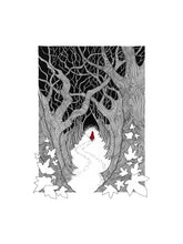 Load image into Gallery viewer, Red Riding Hood giclée print with handpainted watercolour detail in red.