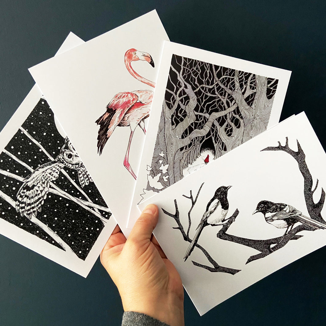 Greetings cards pack of four. Swooping owl., Flamingo, Red Riding Hood and Joy