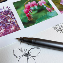 Load image into Gallery viewer, Floral reference photographs and black fineliner.