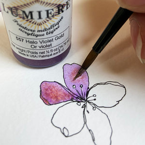 Halo Violet Gold acrylic paint and handpainted spring flower.