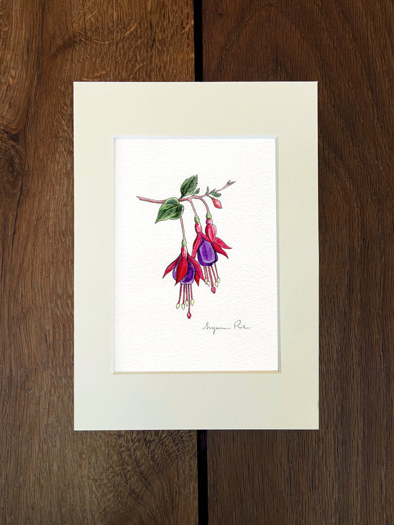 Handpainted fuchsia design using fineliner, watercolour and white ink in an ivory mount on a wooden background.