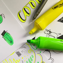 Load image into Gallery viewer, Yellow and green highlighter pens and doodles.