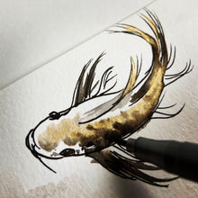 Load image into Gallery viewer, Metallic gold and black koi painting.