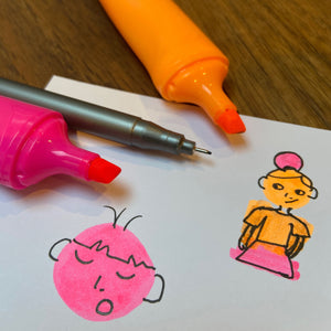 Orange and pink highlighter pens and fineliner with doodles.