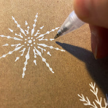Load image into Gallery viewer, White gel pen snowflake close up.
