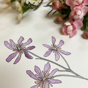 Delicate fineliner and pearlescent acrylic paint flowers.
