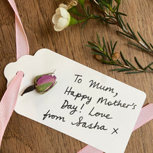 Load image into Gallery viewer, Personalised gift tag with dried rose bud and pale pink ribbon.