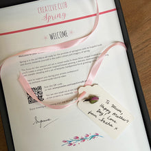 Load image into Gallery viewer, Spring Art Set welcome sheet with personalised gift tag.