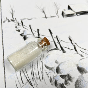 Winter art set snowy scene with biodegradable white glitter.