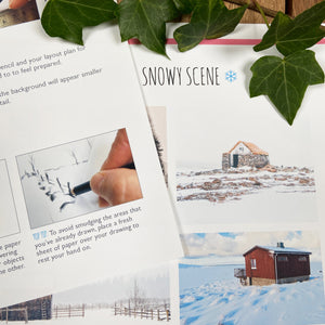 Winter art set guidance sheets with ivy.