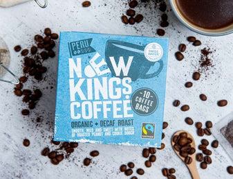 New Kings Coffee Decaf Roast with coffee beans