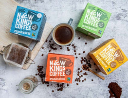 New Kings Coffee Selection of Roasts with coffee beans