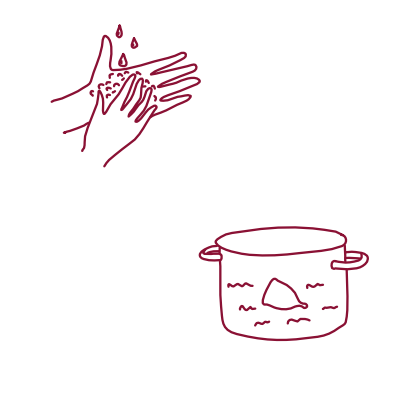 Photo with menstrual cup in boiling pan, 2 pairs of hands washing