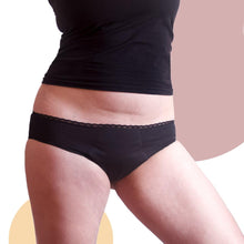 Load image into Gallery viewer, Reusable Period Panties Cherriful - Black - Mid-Rise Cut