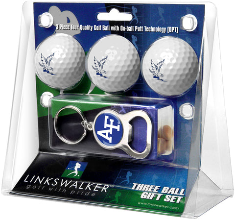 Air Force Falcons - 3 Ball Gift Pack with Key Chain Bottle Opener - Linkswalkerdirect