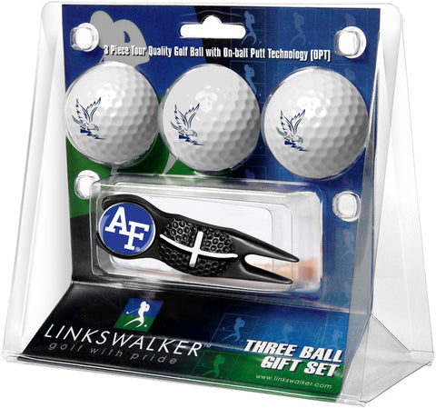 Air Force Falcons - Black Crosshair Divot Tool 3 Ball Gift Pack - Linkswalkerdirect