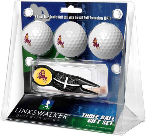 Arizona State Sun Devils - Black Crosshair Divot Tool 3 Ball Gift Pack - Linkswalkerdirect
