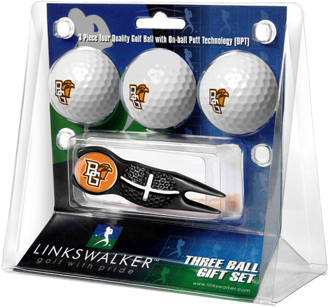 Bowling Green Falcons - Black Crosshair Divot Tool 3 Ball Gift Pack