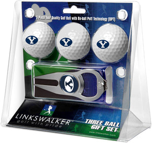Brigham Young Univ. Cougars - 3 Ball Gift Pack with Hat Trick Divot Tool