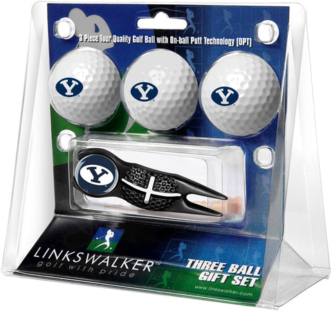 Brigham Young Univ. Cougars - Black Crosshair Divot Tool 3 Ball Gift Pack