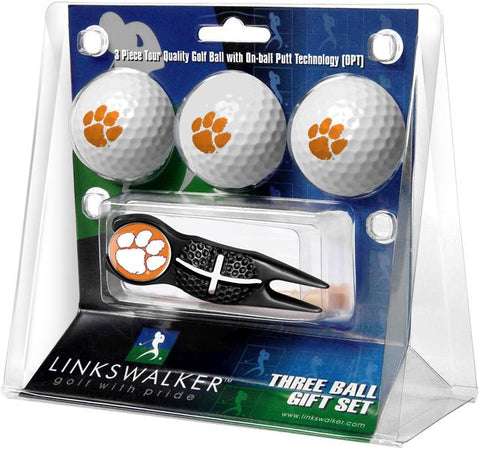 Clemson Tigers - Black Crosshair Divot Tool 3 Ball Gift Pack
