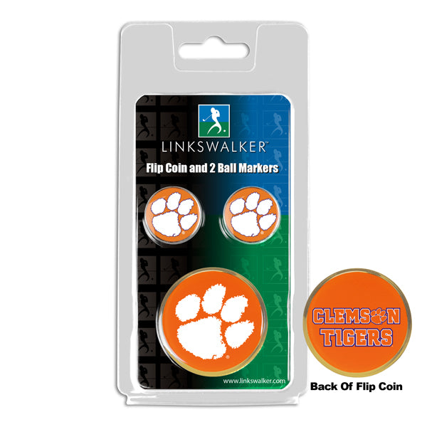 Clemson Tigers - Flip Coin and 2 Golf Ball Marker Pack