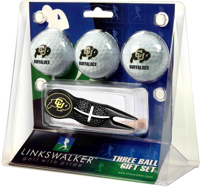 Colorado Buffaloes - Black Crosshair Divot Tool 3 Ball Gift Pack