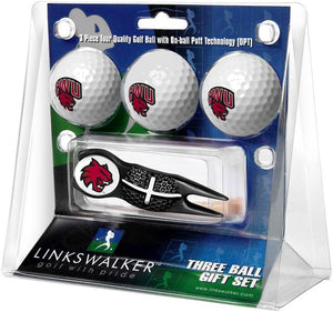 Central Washington Wildcats - Black Crosshair Divot Tool 3 Ball Gift Pack