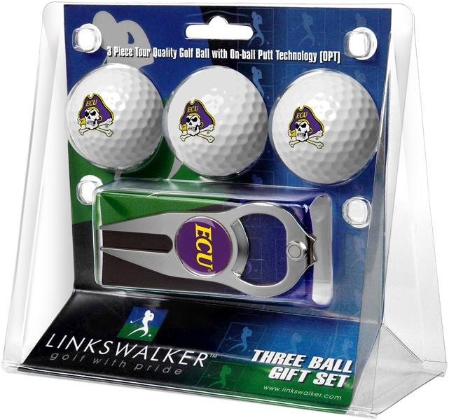 East Carolina Pirates - 3 Ball Gift Pack with Hat Trick Divot Tool