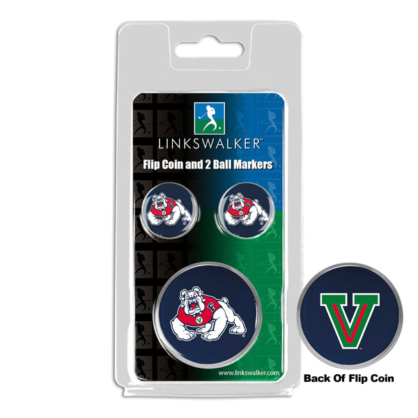 Fresno State Bulldogs - Flip Coin and 2 Golf Ball Marker Pack