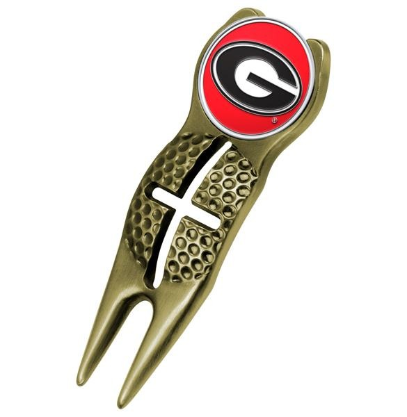 Georgia Bulldogs - Crosshairs Divot Tool  -  Gold - Linkswalkerdirect