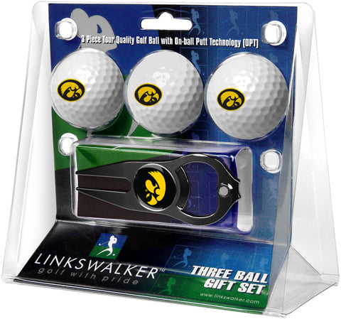 Iowa Hawkeyes - 3 Ball Gift Pack with Hat Trick Divot Tool Black