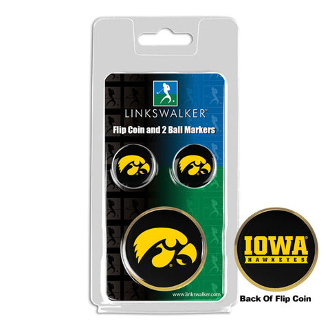 Iowa Hawkeyes - Flip Coin and 2 Golf Ball Marker Pack