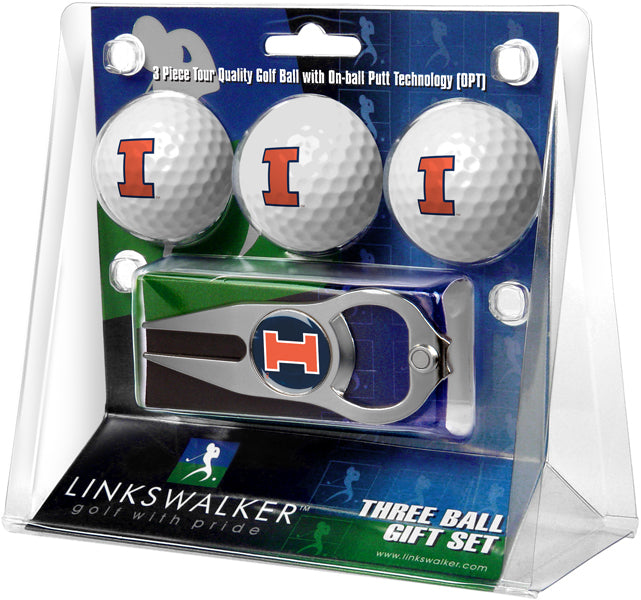 Illinois Fighting Illini - 3 Ball Gift Pack with Hat Trick Divot Tool