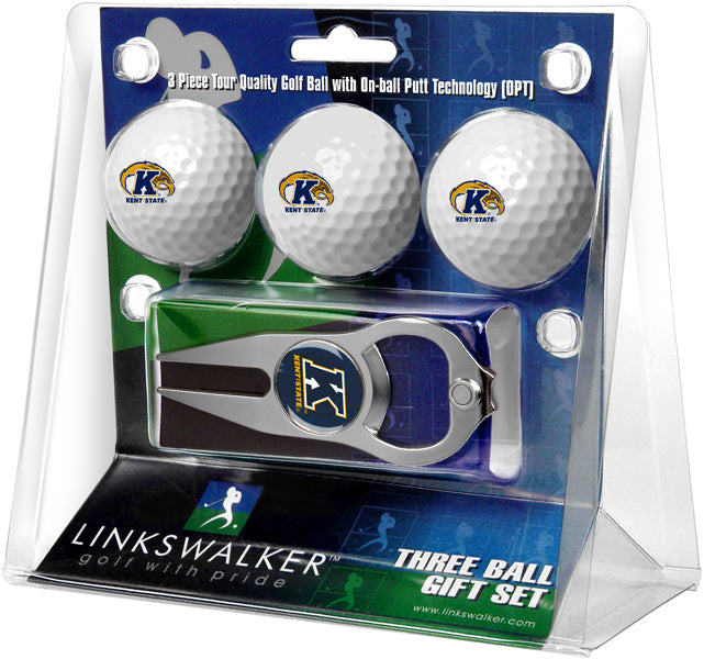 Kent State Golden Flashes - 3 Ball Gift Pack with Hat Trick Divot Tool