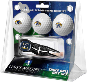 Kent State Golden Flashes - Black Crosshair Divot Tool 3 Ball Gift Pack