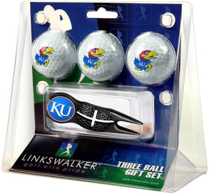 Kansas Jayhawk - Black Crosshair Divot Tool 3 Ball Gift Pack