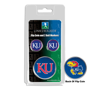 Kansas Jayhawk - Flip Coin and 2 Golf Ball Marker Pack