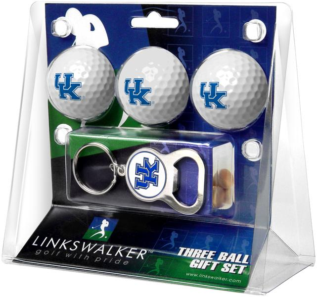 Kentucky Wildcats - 3 Ball Gift Pack with Key Chain Bottle Opener