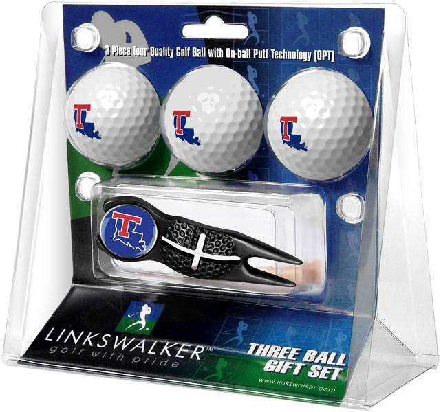 Louisiana Tech Bulldogs - Black Crosshair Divot Tool 3 Ball Gift Pack