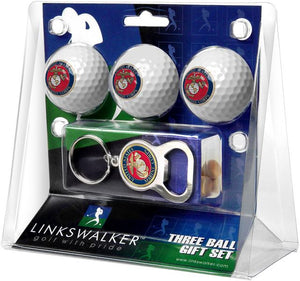 US Marines - 3 Ball Gift Pack with Key Chain Bottle Opener