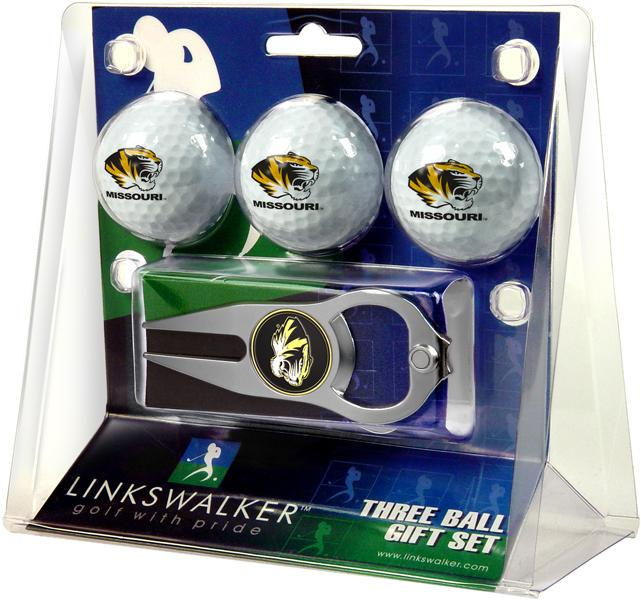 Missouri Tigers - 3 Ball Gift Pack with Hat Trick Divot Tool