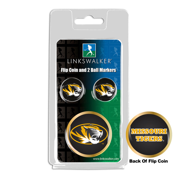Missouri Tigers - Flip Coin and 2 Golf Ball Marker Pack