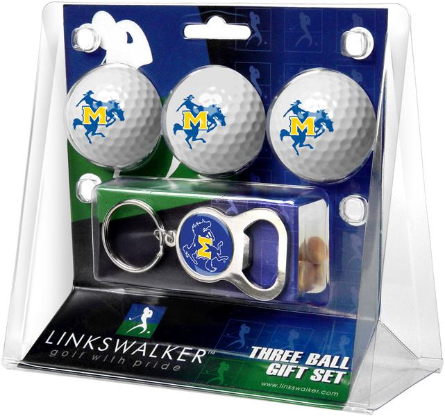 McNeese State Cowboys - 3 Ball Gift Pack with Key Chain Bottle Opener